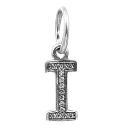 Wholesale Pandora I Love Charm - Letter I Dangle with Clear CZ 009 100% 925 Sterling Silver Beads Fit Pandora Charms Bracelet Authentic DIY Fashion Jewelry