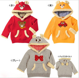 Wholesale Cotton Sweatshirt Baby Yellow - Bowknot Bear Baby Boys Girls Hoodie Sweatshirts Jackets Winter Child Clothes Cotton Velvet Thicken Girl Tops Overcoat Red Gray Yellow K2621