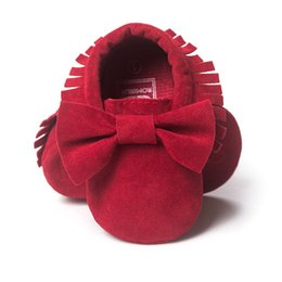 Wholesale Top Baby Prewalker Shoes - Bow Suede Baby Girls Shoes Fringe Top Quality Toddler First Walkers Children's Prewalker Shoe Soft Retail