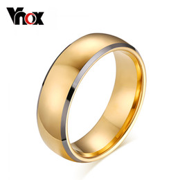 Wholesale Gold Tungsten Band - Wholesale-Top quality tungsten carbide rings 24k gold plated engagement wedding men ring free shipping