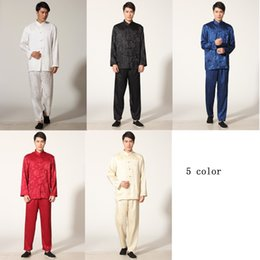 Wholesale Chinese Martial Arts - Free Shipping 5 color Tai chi uniform kung fu suit tradition chinese kungfu Martial Art Jacket Pants Set traditional Taiji clothing M0050