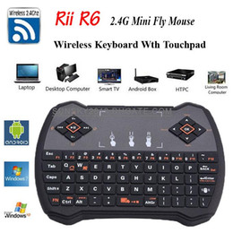 Wholesale Fly Tablet Pc - Rii R6 fly Air Mouse 2.4GHz Wireless Game Keyboard Remote Control Touchpad for Android TV BOX Smart Mini PC Laptop Tablet HTPC Updated i8