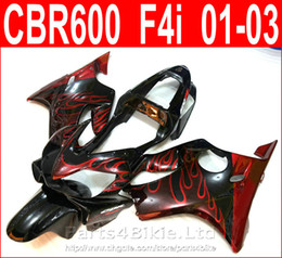 Wholesale Cbr Fairings For Sale - Hot sale Red flame body parts Style for Honda CBR600 F4i fairing kit 2001 2002 2003 CBR F4i cbr600f4i fairings QCUS