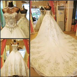 Wholesale Luxury Strapless Princess Wedding Dresses - luxury Glamorous Ball Princess Sweetheart 2016 Wedding Dresses With Rhinestone Organza Sweep Train Royal Lace-Up Wedding Gown Bridal Dressss