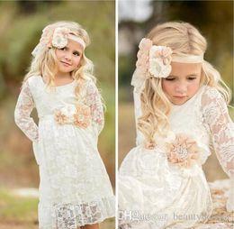 Wholesale Designer Dresses Kids Girls - 2018 Princess Full Lace Flower Girl Dresses Sheer Long Sleeves First Communion Dresses Full Length Kids Formal Wear Girl Dress For Weddings