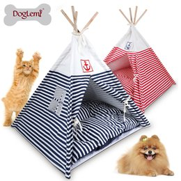 Wholesale Kennel Blanket - Free shipping !!! Doglemi Indian Foldable Pet Tent Dog Cat Kennel Nest Wood Pet Puppy Igloo House