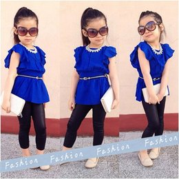 Wholesale Short Leggings Children - Children Girls Clothing Set Kids Blue Shirt Dress + Black Leggings Cool Baby Infant 2pcs Suits for Summer Girls Outfits Baby Products Brand