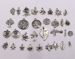 Wholesale jewelry tree leaves - Hot Sale ! 160pcs Antique silver mixed flowers, trees, leaves charm pendants, DIY Jewelry 32- style (p16)