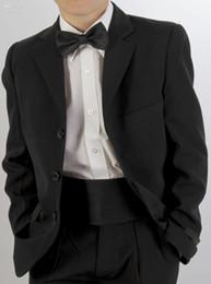 Jaqueta direta smoking on-line-Formal Ocasião Meninos Crianças PinstripeTrês botões Bolsos retos Wedding Party Suit Tuxedo (Jacket + Pants + bow)