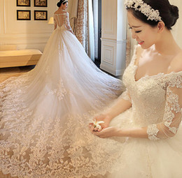 Wholesale Sweetheart Neck Line Bridal Gowns - Luxury 2015 Wedding Dresses Long Sleeves Lace Bridal Gowns Beads A Line V Neck Sweetheart Back Long Train Church Wedding Gowns