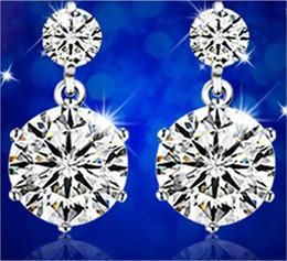 Wholesale Switzerland Crystal Jewelry - Sterling Silver Korea Europe US and Switzerland drilled twin flower earrings new high-grade zircon earrings ear jewelry rhodium