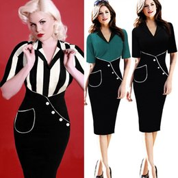 Wholesale Pinup Black White - 2015 New Womens Vintage Rockabilly Pinup Retro Collar Colorblock Striped Cocktail Party Bodycon Wiggle Pencil Sheath Dress DK2211CG