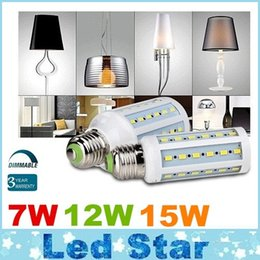 Wholesale Smd Dimmable - Dimmable 7W 12W 15W Led Bulbs E27 E26 E14 B22 SMD 5730 Led Corn Lights 360 Angle AC 110-240V + CE UL CSA