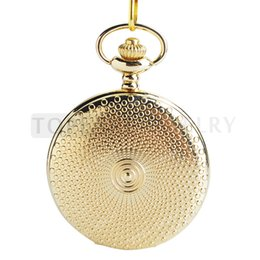 Wholesale Round Glass Cover - LPW174 Teboer Jewelry Luxury Golden Cover Full Hunter Quartz Pocket Watch