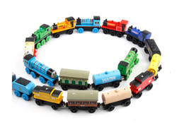 Wholesale Toy Ca - CA GB US SALES CHO CHO Train Wooden Toy Vehicles Wood Trains Model Toy Magnetic Train Great Kids Christmas Toys Gifts DHL