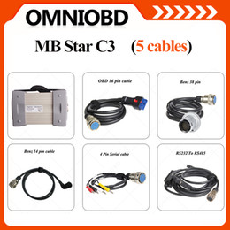 Wholesale Mb Star Without Hdd - Promotion Top MB Star C3 Full Set 5 Cables without HDD Star C3 forbenz Cars with All New Relay Strong Cable Multilanguage DHL Free shipping