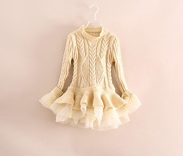 Wholesale Girls Pullover Solid Sweater Dress - Wholesale-Kids Girls Knit Sweater Dresses Baby girl tulle lace TUTU Autumn Winter princess jumper pullover dress
