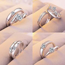 Wholesale Wedding Ring Pairs - EU US Fashion Luxury Lover's Ring Couples Rings for Lovers 2pcs pair men and women engagement wedding ring best gift for friends