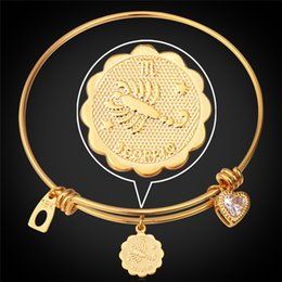 Wholesale Engagement Signs - U7 Horoscope Zodiac Signs Scorpio Bangles For Women Men Fashion Jewelry 18K Real Gold Platinum Plated 12 Constellations Bracelets