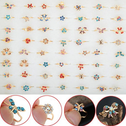 Wholesale Child Xmas - 60pcs Wholesale Lot Gold Tone Assorted Design Crystal Ring Cute Kid Child Party Small Size Adjustable Jewelry Xmas Gift Free Ship