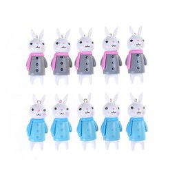 Wholesale Rabbit Ornament - Wholesale- 2Pcs 20*50mm Resin Rabbit Ornament Miniature Figurine Dolls Accessories miniature garden Dollhouse Shadowbox scene