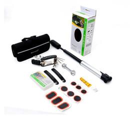 Wholesale Bike Repair Tool Kit Pump - Bicycle Cycle Puncture Repair Kit Multi Tool Bike Set Inc Pump with Carry Case SAHOO 21040
