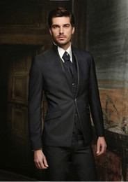 Wholesale Gray Wool Jacket High Collar - High Quality One Button Black Groom Tuxedos Stand Collar Groomsmen Best Man Mens Weddings Prom Suits (Jacket+Pants+Vest+Tie) NO:3209