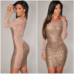 Wholesale Sheer Over Sequin Dress - 2016 New Plus Size XXXL Gold Black Red Purple All-Over Sequined Sheer Long Sleeves Hollw Out Mesh Insert Bodycon Club Dress