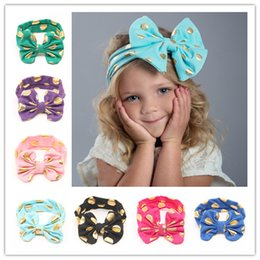 Wholesale Scarves Girls Baby Bow - Infant Cotton Bow Headbands Scarf Brozing Bow HairBand for Girls Lovely Baby Knotted Headwrap Elastic Headband Childrens Hair Accessories