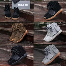 Wholesale Fashion Knee Boots - New 2018 High Quality Triple Black Boost 750 Kanye West Shoes Glow In The Dark 750 Boost Men Boots Sports Shoes Sneakers