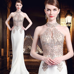 Wholesale Mother Bride Dresses Halter - heavily embroideried crystals beaded halter evening dresses 2018 Dubai Arabic dress for evening sweep train mother of the bride dresses