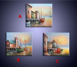 Wholesale Canvas Pier - 100% pure Hand-painted Oil Painting on Canvas Palette Knife Venice Pier Beach Scenery Painting Home Decoration Art Wall Picture