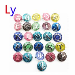 Wholesale Rhinestone Letter Z - 26pcs lot snap button jewelry metal snap button fits snap button bracelet initial A-Z alphabet color the letter snap button jewelry AC148