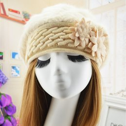 Wholesale Women Knit Wool Flower Hat - Wholesale-The new Autumn winter woman hat upset add wool rabbit fur fashion hat pure color berets warm flower knitting wool cap