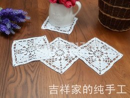 Wholesale Cotton Crochet Table Mat - 2015 free shipping white 11cm square 30 pic lot cotton crochet lace doilies for wedding table mat pad coaster for home decor mat