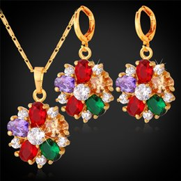 Wholesale Zircon Necklace Sets - 18K Gold Plated Crystal Necklace Earrings Set For Women Fashion Jewelry Mix-Color Cubic Zircon Flower Bridal Jewelry Sets PE1109
