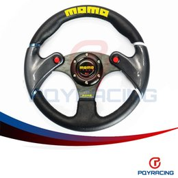 Wholesale Carbon Race - PQY STORE- NEW 32cm Black MOMO leather steering wheel and carbon fibre wheel automobile race modified PQY-SW41