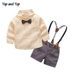 Wholesale Boys Blue Collar Shirt - 2017 New Fashion Clothing Cotton Set Long Sleeve Shirt + suspender shorts newborn baby boys gentleman clothes suit(ZJ002)