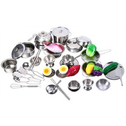 Wholesale toy kitchen utensils wholesale - Wholesale- MWZ Kids Kitchen Utensils Play House Cooking Toys More Style Stainless Steel Kitchen Pots Pans Tools Pretended Play Education