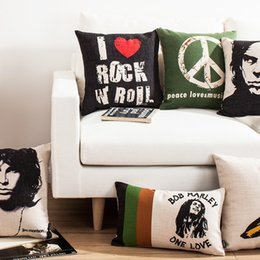 Wholesale Cushion Music - Classic Album Cover Rock Music Art Cushion Cover Nick Cave Bob Marley One Love Cushions Covers Sofa Throw Linen Cotton Custom Pillow Case