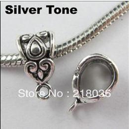 Wholesale Large Hole Metal Beads - Wholesale 200Pcs Antiqued Silver Tone Heart Shape Large Hole Charm Beads Fit Pandora Bracelets DIY Metal Jewelry Findings 7.5*13.5mm A703