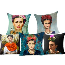 Wholesale Printed Cushions Linen Cotton - Frida Kahlo Polyester Cushion Cover Self-portrait 43X43cm Pillow Case Home Decorative Pillows Cover For Sofa Car Cojines