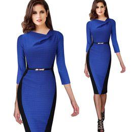 Wholesale Optical Summer Dress - 2015 Women Belted Summer Elegant Optical Illusion Draped Neck Tunic Wear To Work Business Casual Sheath Pencil Dress 348