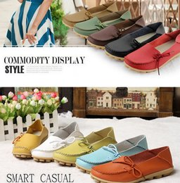 Wholesale Wholesalers Women Flat Shoes - free ups ship New 2016 vintage women flats genuine leather shoes woman candy color boat shoes breathable fashion flat shoes tenis moccasins