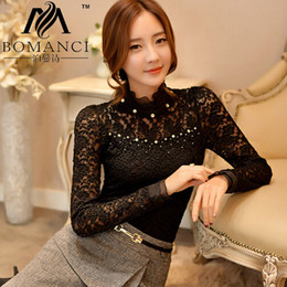 Wholesale Black Ruffle Collar Blouse - Wholesale-2015 New Arrivals Plus Size Blusas Lace Women Blouse Ruffled Collar Long Sleeve Blouse with Bead Women Clothing Blusas Femininas