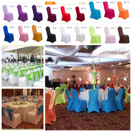 Wholesale Wedding Banquet Chair Covers Sale - Universal White Polyester Spandex Wedding Chair Covers Weddings Banquet Folding Hotel Chair Decoration Decor Hot Sale Wholesale 2016 Cheap