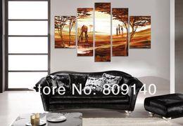 Persone di tela di olio online-African People Animal Landscape scenario pittura a olio su tela grande opera d'arte di alta qualità handmade home office hotel decorazione della parete di arte della decorazione