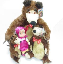 poupées de masha Promotion Parler Musique Masha Poupées En Peluche Haute Qualité Russe Martha Marsha PP Coton Jouets Enfants Briquedos Anniversaire Cadeaux