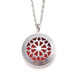 """Wholesale Brass Perfume - 10pcs 24"""" With Chain Pads Round Antique Silver Aromatherapy Lockets Pendants Perfume Essential Oil Diffuser Locket Necklace"""