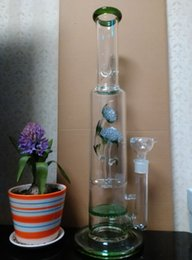 """Wholesale Popular Flower Types - Forever young Popular artist inscribed flowers real glass bongs,18"""" inches Straight pure glass TreePerc water pipe with three Honeycomb"""